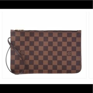 Auth NEW Louis Vuitton Neverfull Red damier clutch
